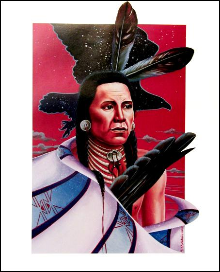 © Thierry Chatelain, American Indian man with Feathers.